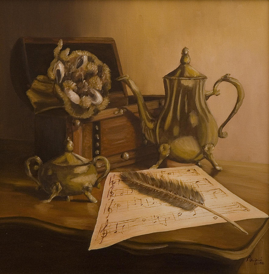 Still Life Painting - By The Note Paper by Andreja Dujnic