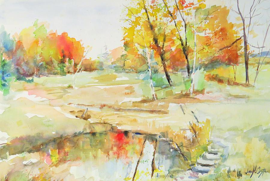 Pond Painting - By The Pond by Jean Costa