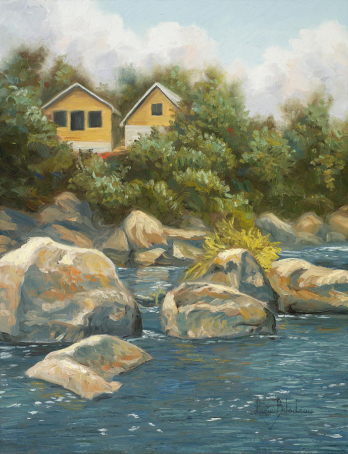 River Painting - By The River by Lucie Bilodeau