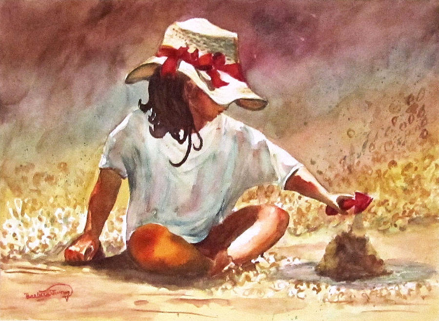 Girl Painting - By The Sea by Barbara Jung