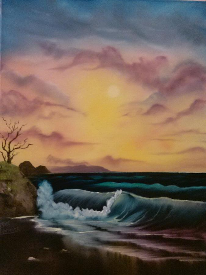 Bob Ross Painting - By-the-sea by Lynn Lawrence