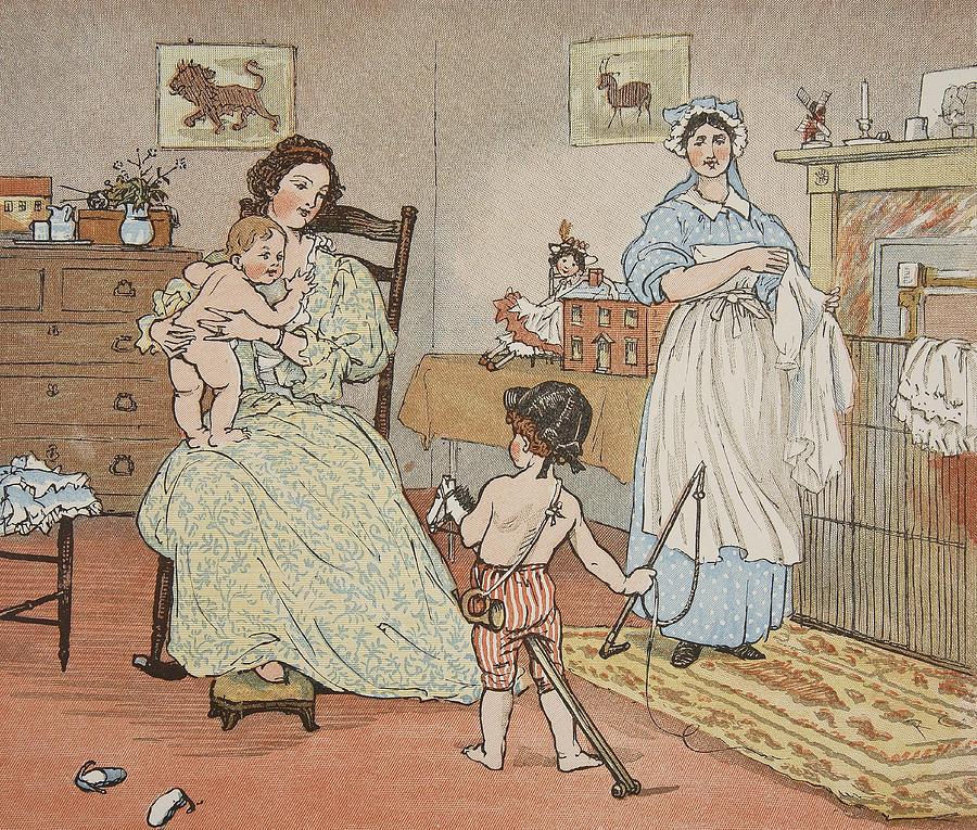 Caldecott Illustrations Painting - Bye Baby Bunting by Rnadolph Caldecott