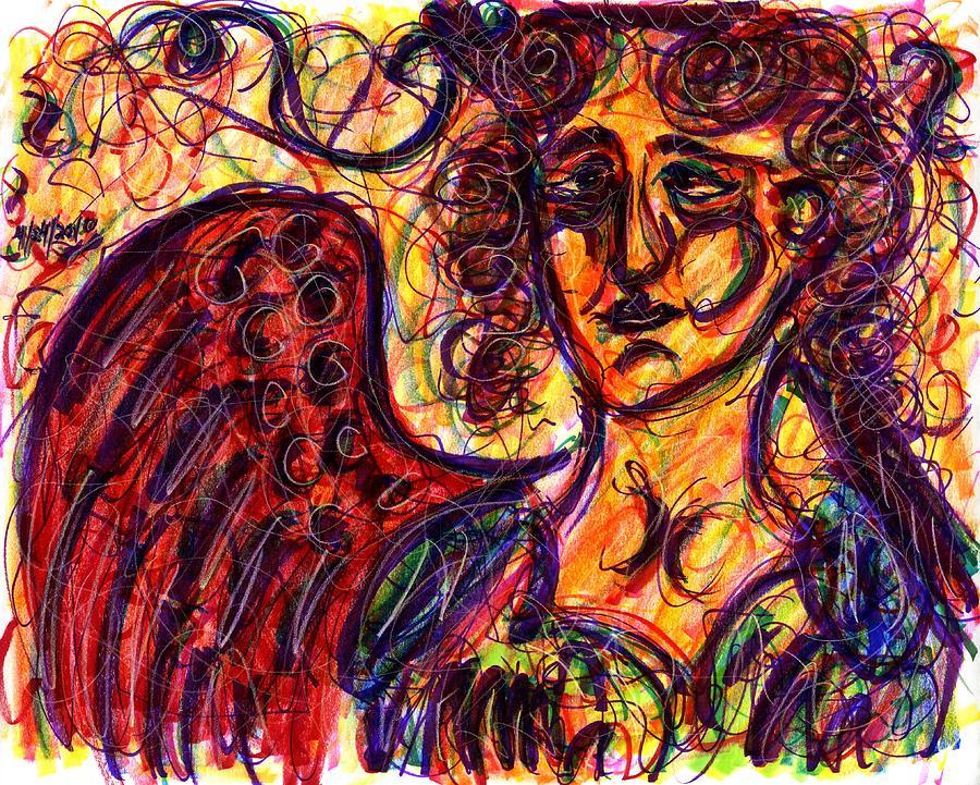 Angel Drawing - Byzantine Angel by Rachel Scott