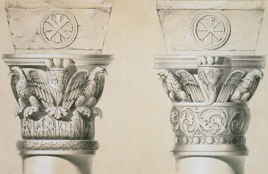 Architecture; Eagles; Acanthus Leaves; Carving; Salonika; Chi Rho Sign; Print Drawing - Byzantine Capitals From Columns In The Nave Of The Church Of St Demetrius In Thessalonica by Charles Felix Marie Texier