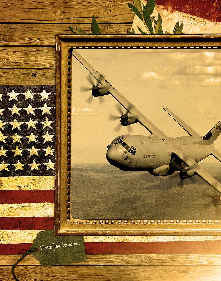 C-130 Digital Art - C-130 Hercules Rustic Flag by Reggie Saunders