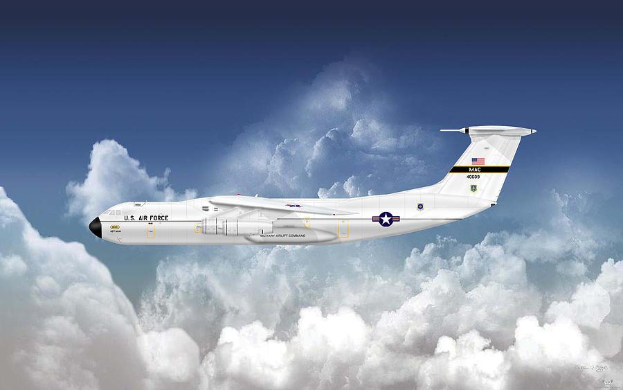 Lockheed Digital Art - C-141a Starlifter by Arthur Eggers