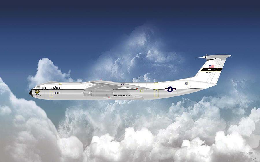 Lockheed Digital Art - C-141b Starlifter by Arthur Eggers