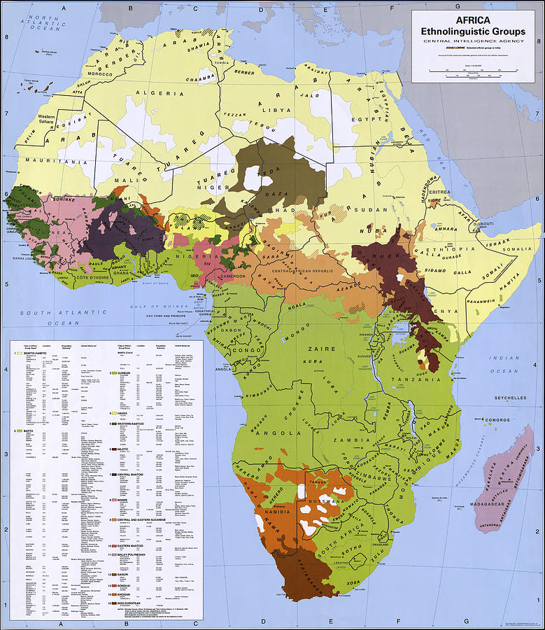 C I A Africa Ethnolinguistic Groups Map Photograph by Compass Rose