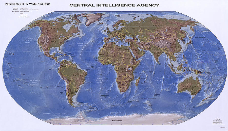 C I A Physical Map Of The World Photograph by Compass Rose Maps
