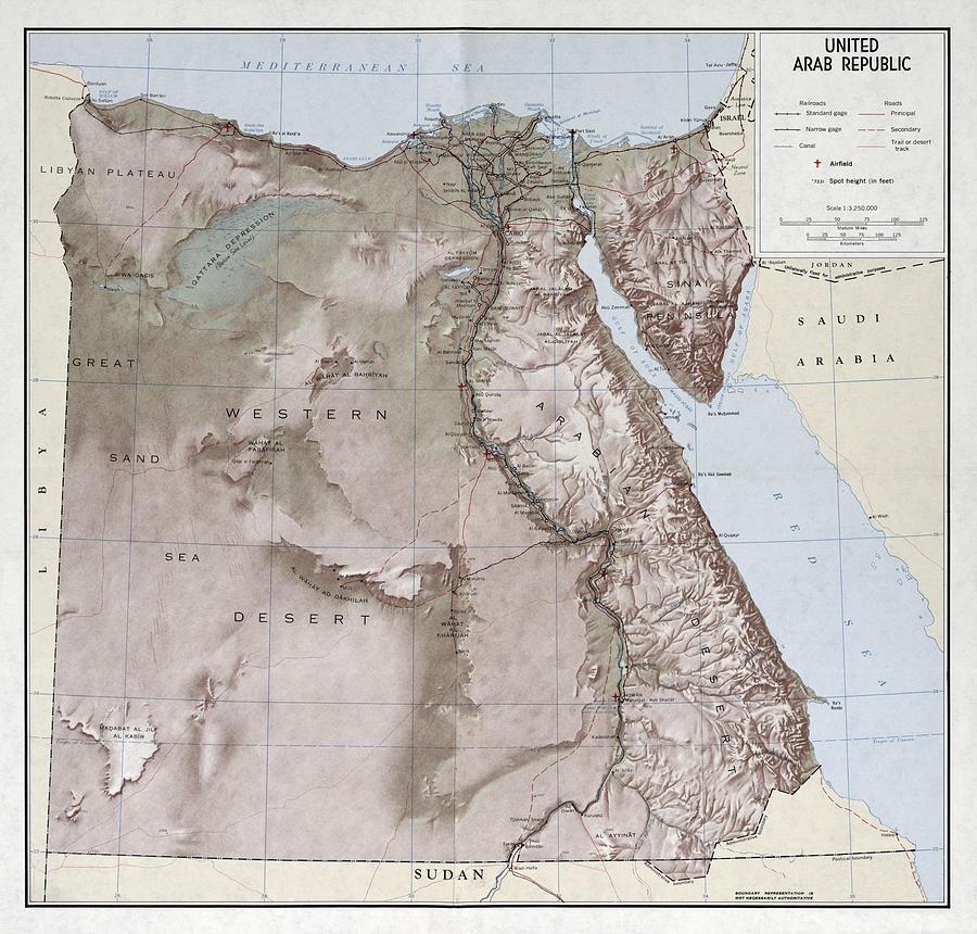 C I A United Arab Republic Map 1963