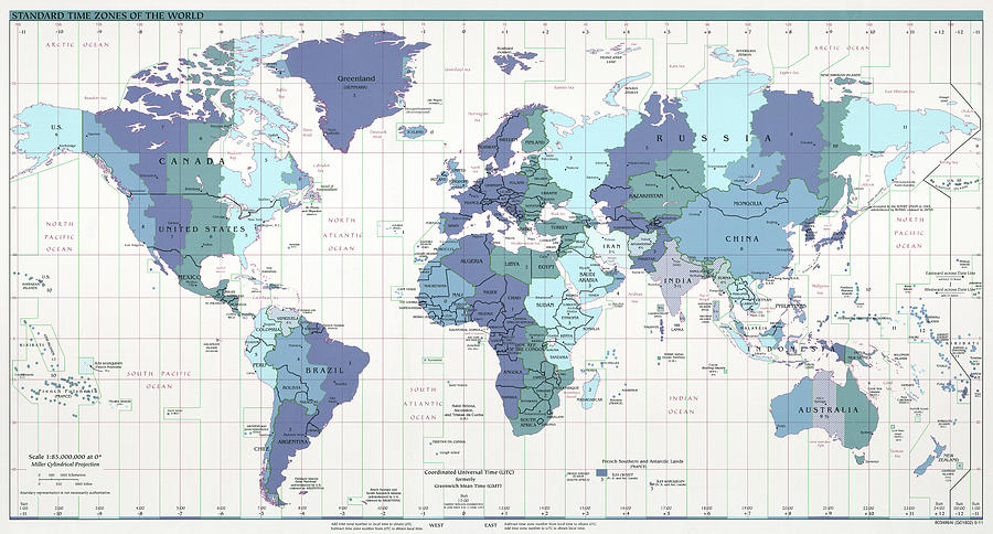 CIA World Map With Time Zones Photograph by Compass Rose Maps
