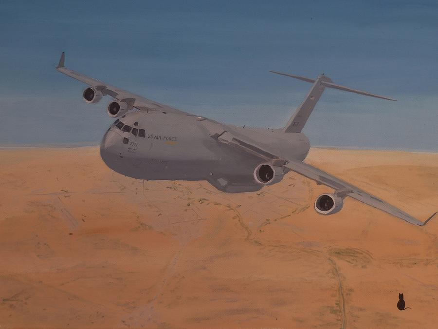 Aeroplane Painting - C17 Out Of Baghdad by Jonathan Laverick