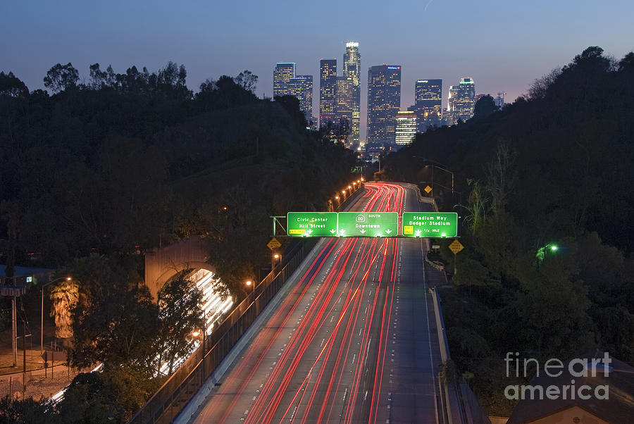 Ca 110 Pasadena Freeway Downtown Los Angeles At Night With