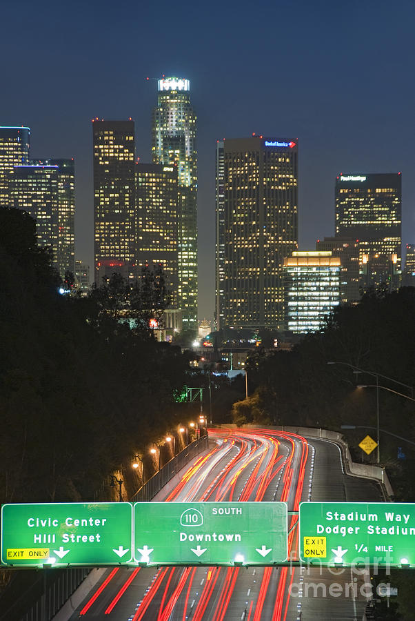 Ca 110 Pasadena Freeway Downtown Los Angeles At Night With ...