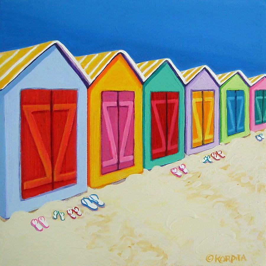 Beach Hut Painting - Cabana Row - Colorful Beach Cabanas by Rebecca Korpita
