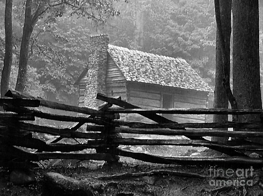 Log Cabins Photograph - Cabin In The Fog by Julie Dant