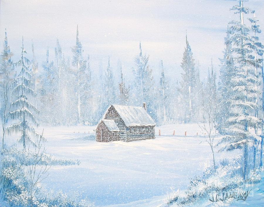 Cabin In The Snowy Woods Painting By Jim Janeway