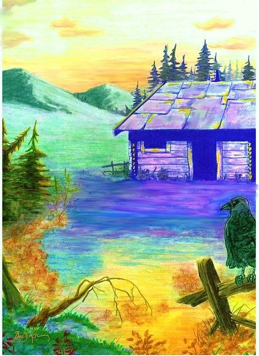 Landscape Painting - Cabin In The Woods by Brad Simpson
