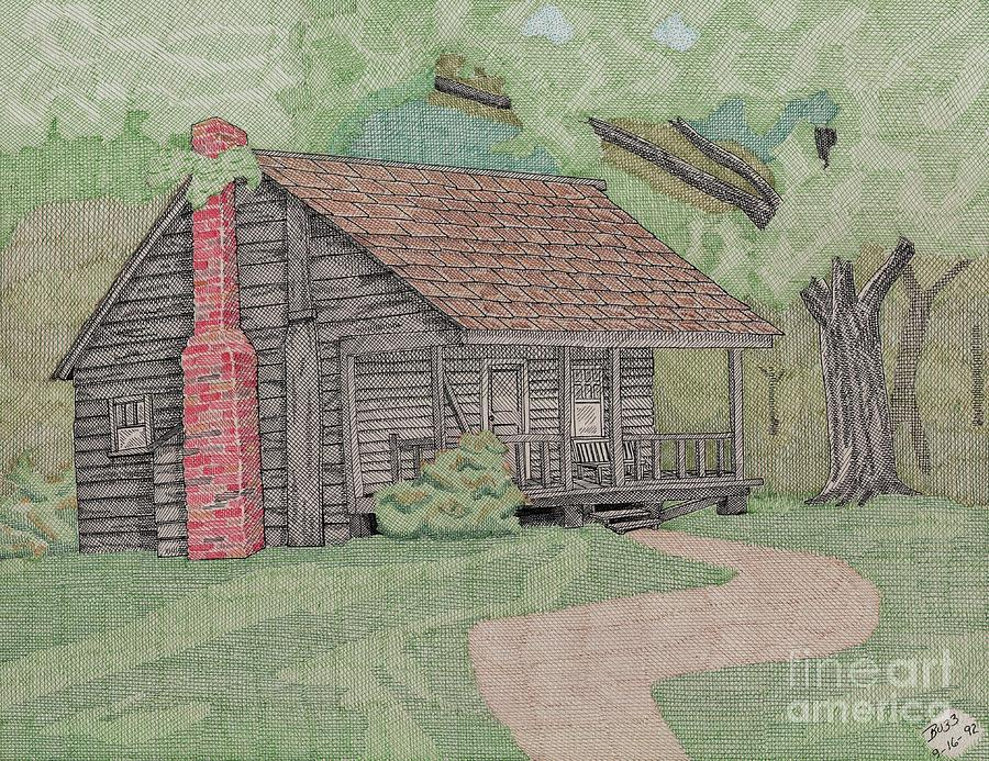 Cabin In The Woods Drawing By Calvert Koerber