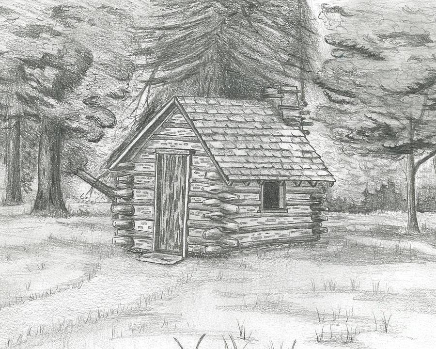 Cabin In The Woods Drawing By David Lingenfelter
