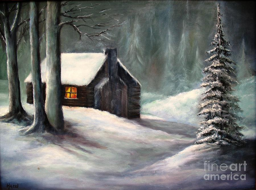 Woods Painting - Cabin In The Woods by Hazel Holland