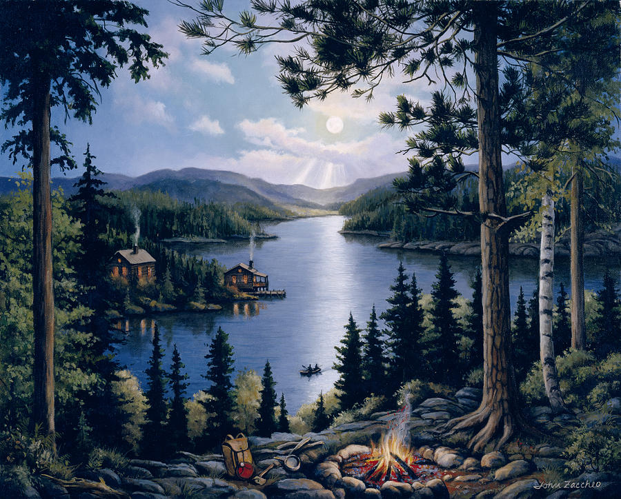 Fire Painting - Cabin In The Woods by John Zaccheo