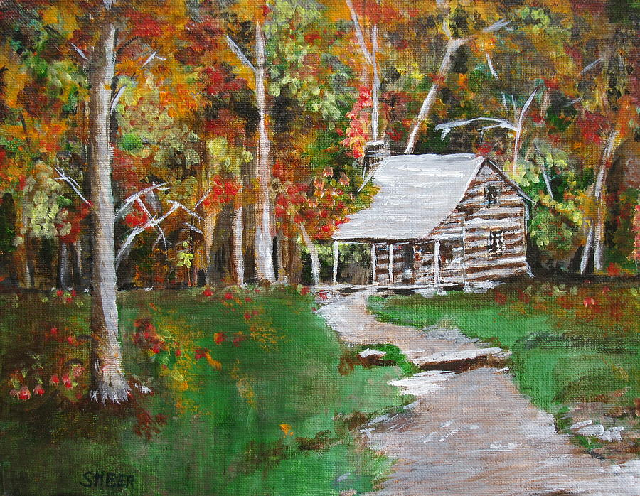 Cabin In The Woods Painting By Kathy Stiber
