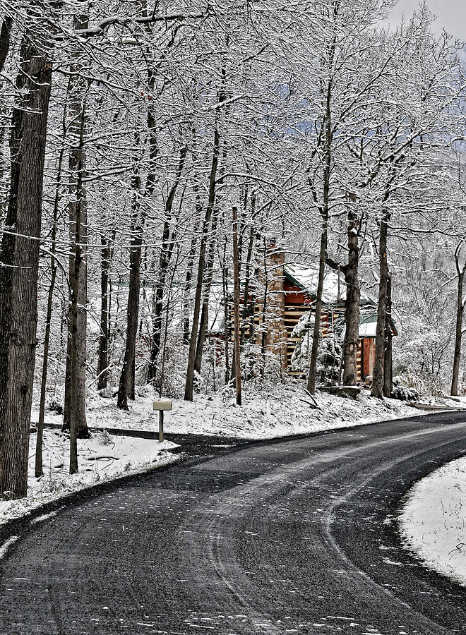 Country Winter Scene Photograph - Cabin In The Woods by Lara Ellis