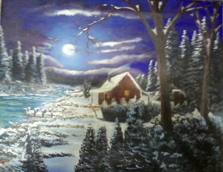 Winter Painting - Cabin in Winter by Jimmy Johnson