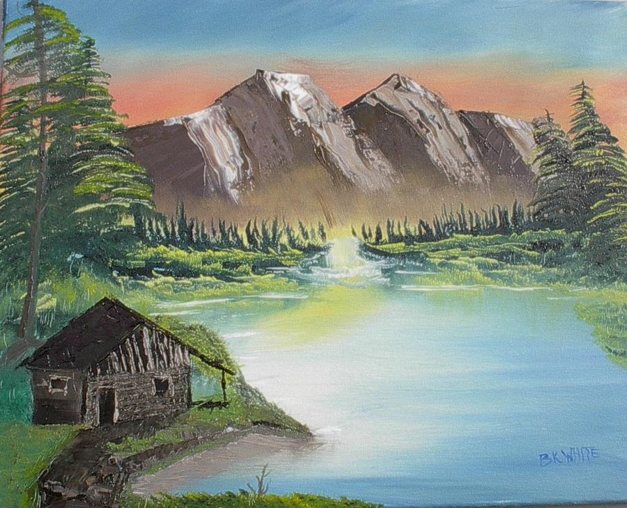 Cabin Painting - Cabin On The Lake by Brian White
