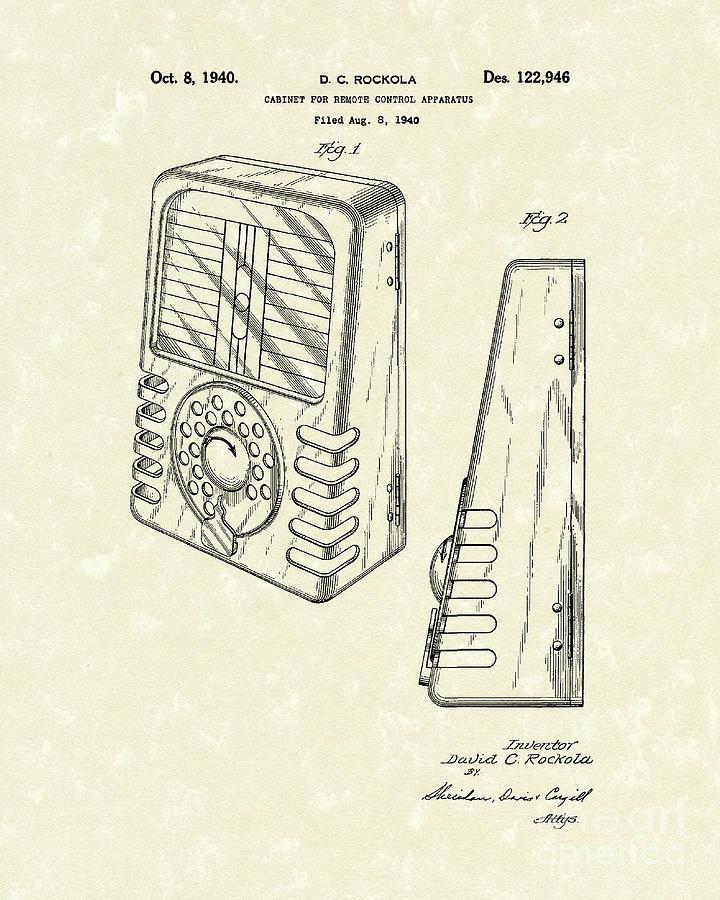 Rockola Drawing - Cabinet 1940 Patent Art by Prior Art Design