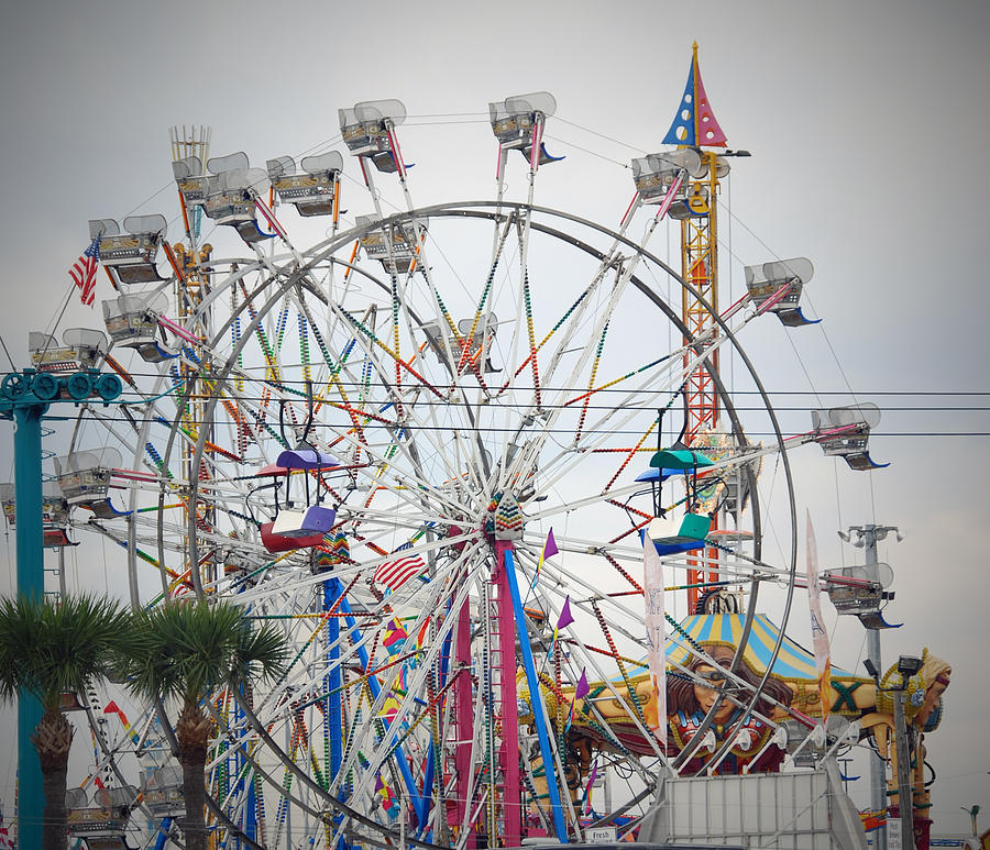 Fair Photograph - Cables Wires And Wheels Oh Boy by Judy Hall-Folde
