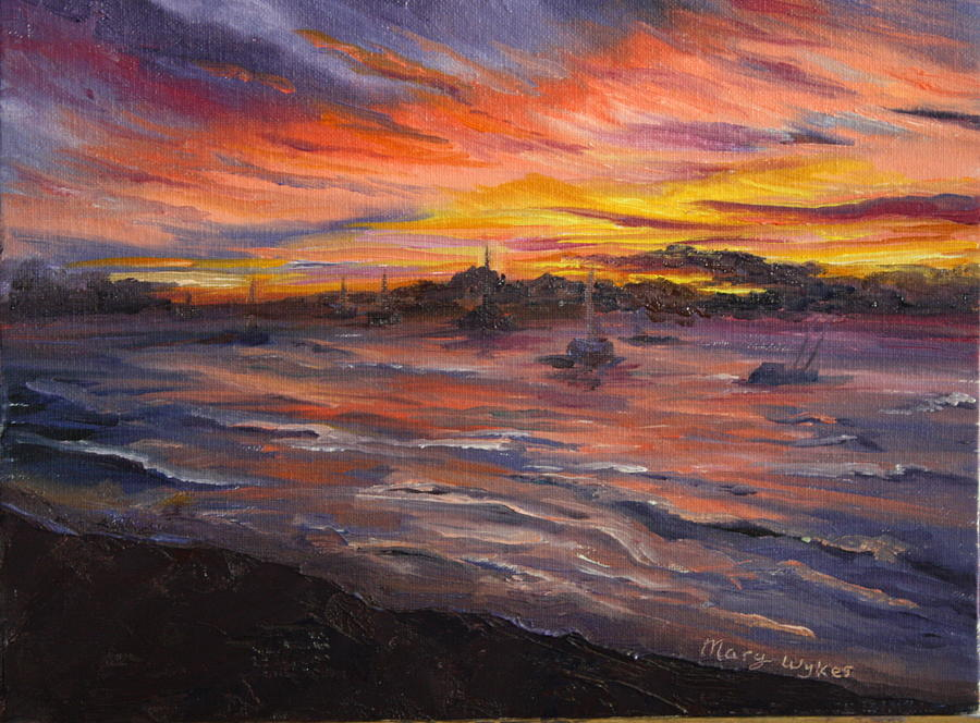Sunset Painting - Cabo San Lucas by Mary Beglau Wykes