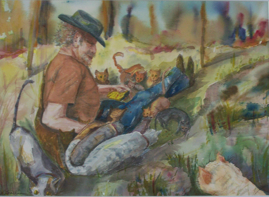 Humanitarian Painting - Caboodle Ranch Cats by Barbara McGeachen