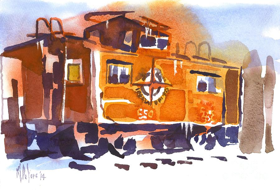 Caboose in Snow and Ice by Kip DeVore