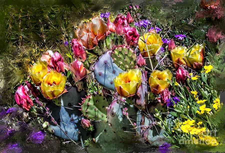 Cacti Digital Art - Cacti Flowers Painterly by Georgianne Giese