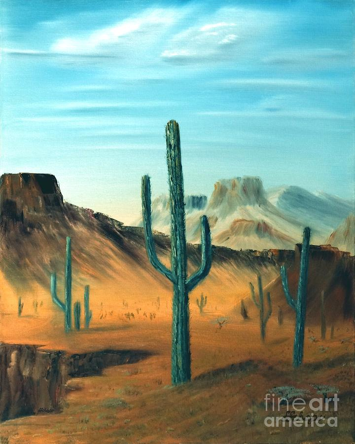 Cactus Painting - Cactus And Mesa by Stephen Schaps