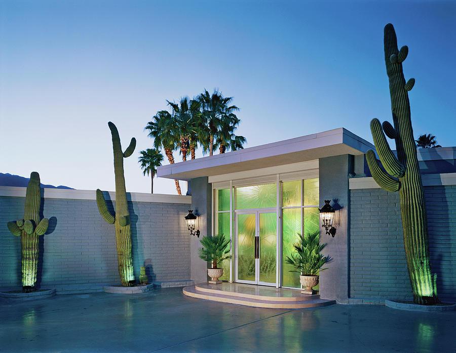Cactus At Building Entrance At Dusk Photograph by Mary E. Nichols