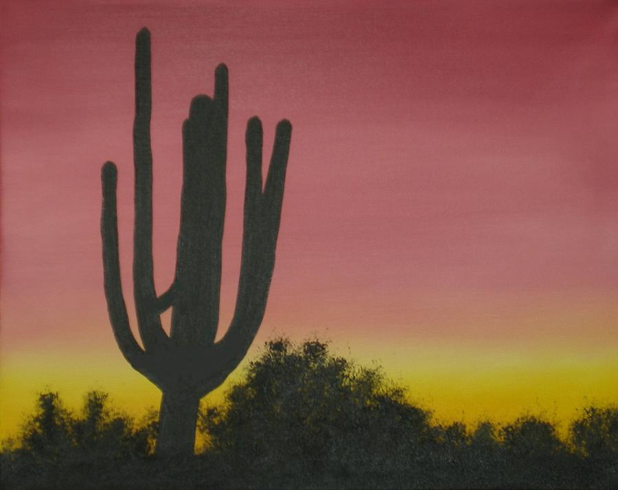 Nature Painting - Cactus At Dawn by Aaron Thomas