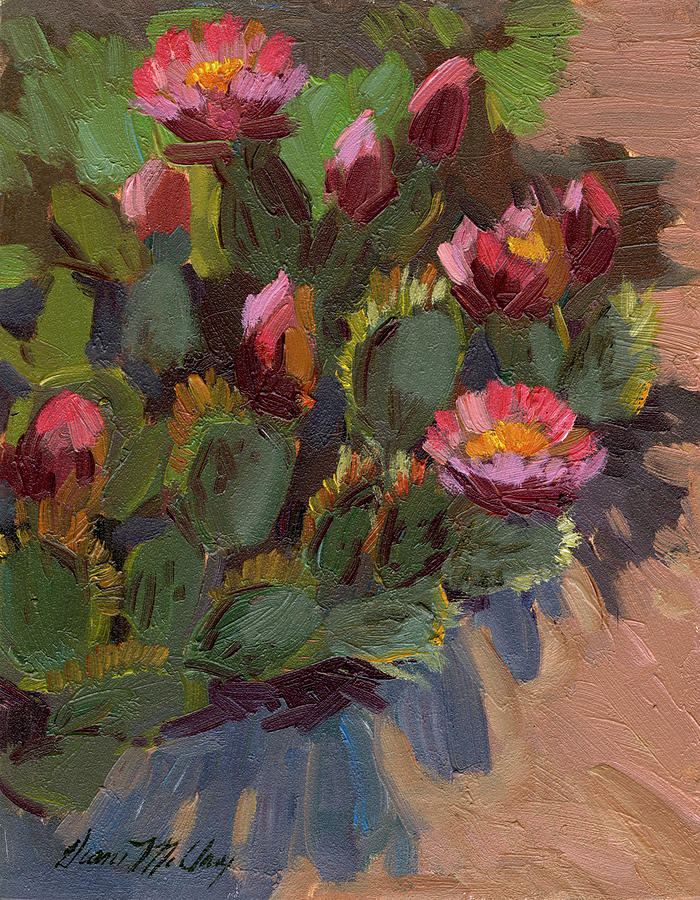 Blooming Painting - Cactus In Bloom 2 by Diane McClary