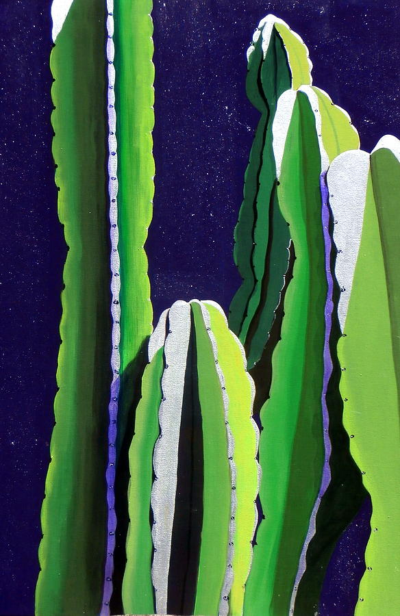 Southwestern Painting - Cactus In The Desert Moonlight by Karyn Robinson