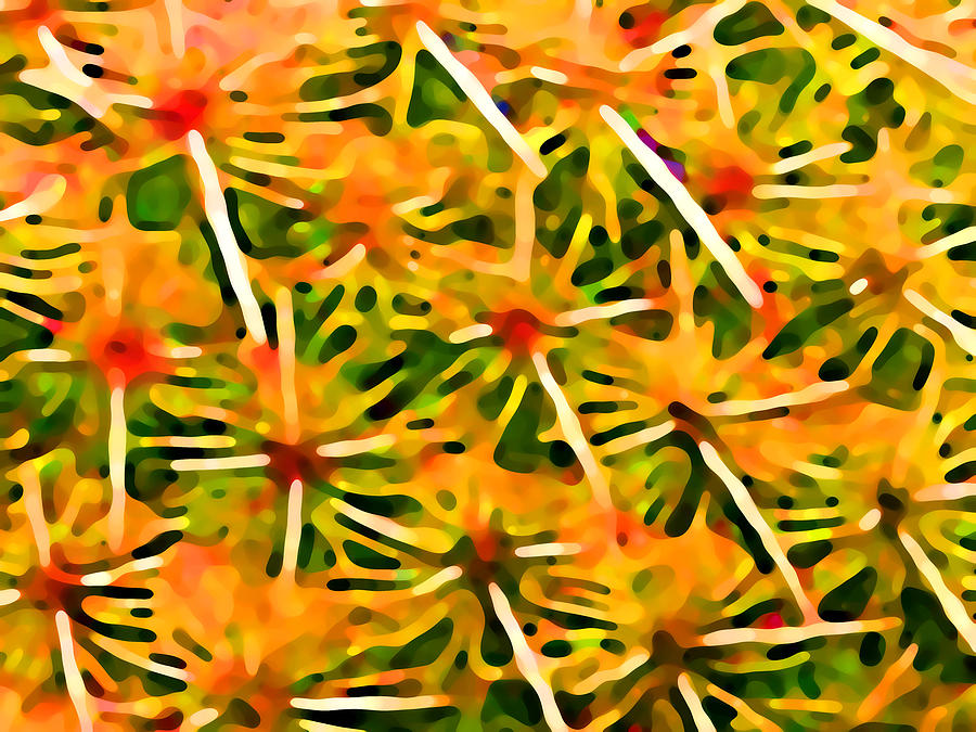 Abstract Painting - Cactus Pattern 2 Yellow by Amy Vangsgard