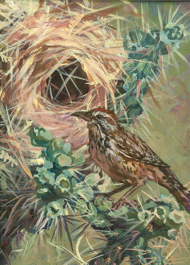 Bird Painting - Cactus Ren by Christine Lytwynczuk