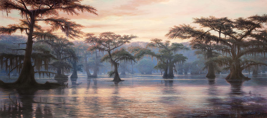 caddo lake sunrise painting by rc davis