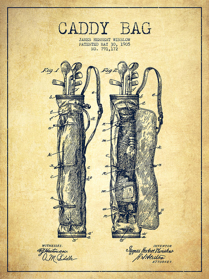 Caddy Bag Digital Art - Caddy Bag Patent Drawing From 1905 - Vintage by Aged Pixel