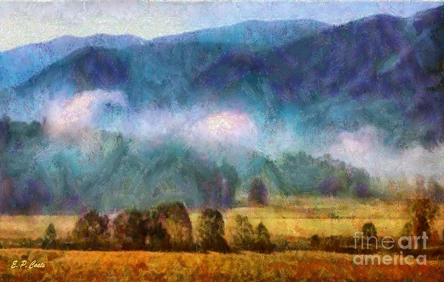 Tennessee Landscape Painting - Cades Cove Tennessee  by Elizabeth Coats