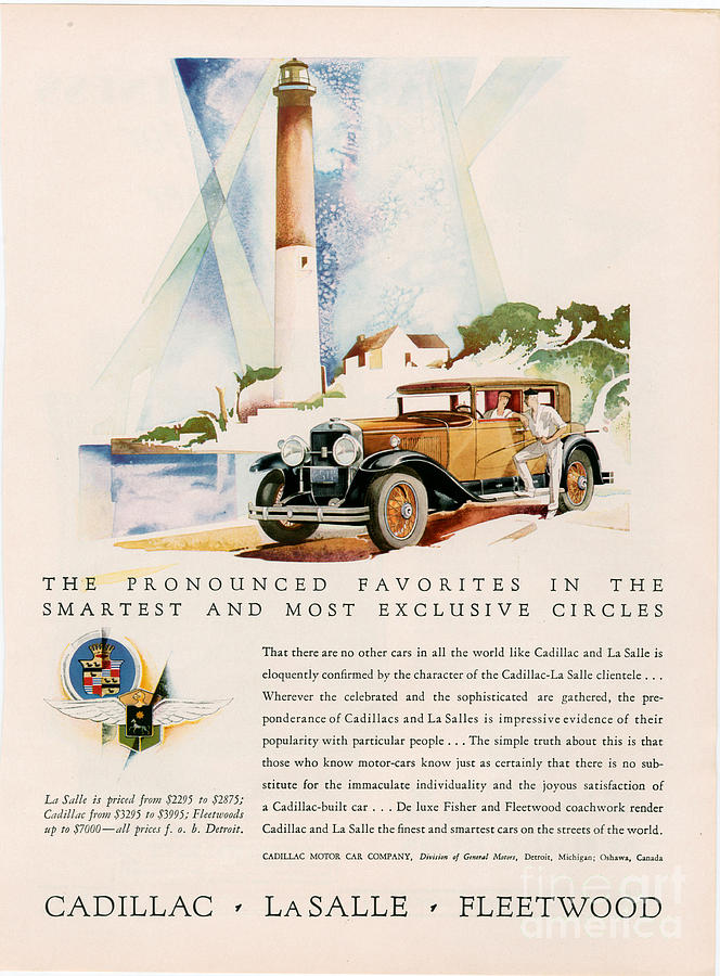 Adverts Drawing - Cadillac La Salle 1929 1920s Usa Cc by The Advertising Archives