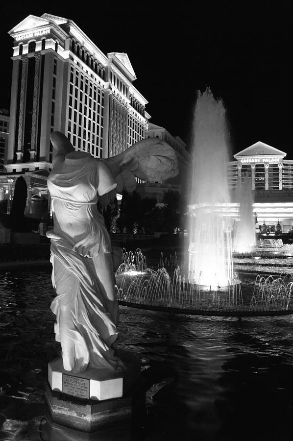 Caesars Photograph - Caesars Fountain Bw by Jenny Hudson