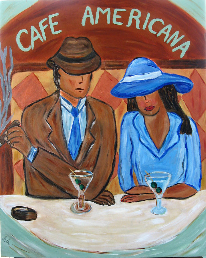 Cafe Painting - Cafe Americana by Victoria  Johns