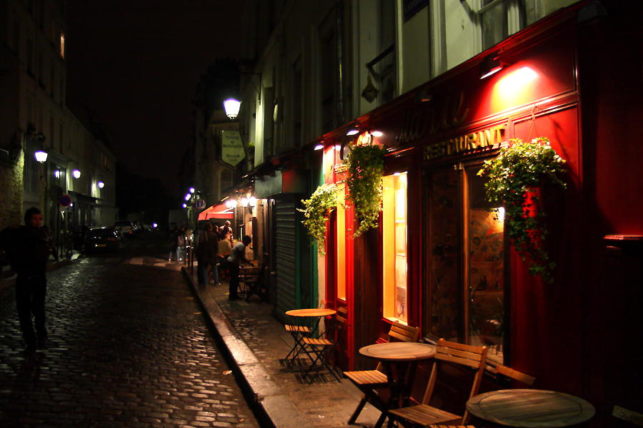 Montmartre Photograph - Cafe At Night by Carrie Warlaumont